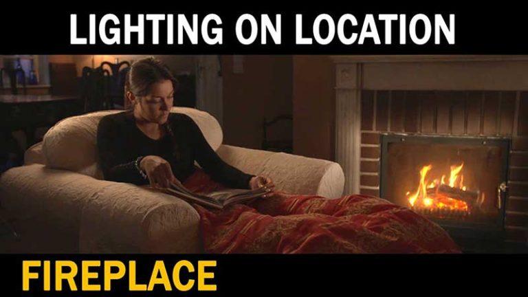 dedolight lighting on location fire place