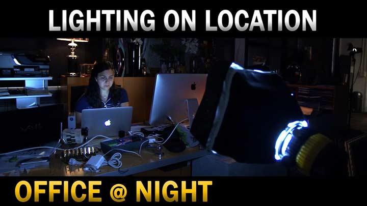dedolight lighting on location office night